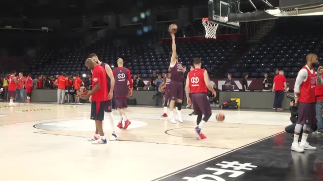 moscow players attend team practice the day before the turkish airlines euroleague final four match against olympiacos at sinan erdem dome in... - basketball player stock videos & royalty-free footage