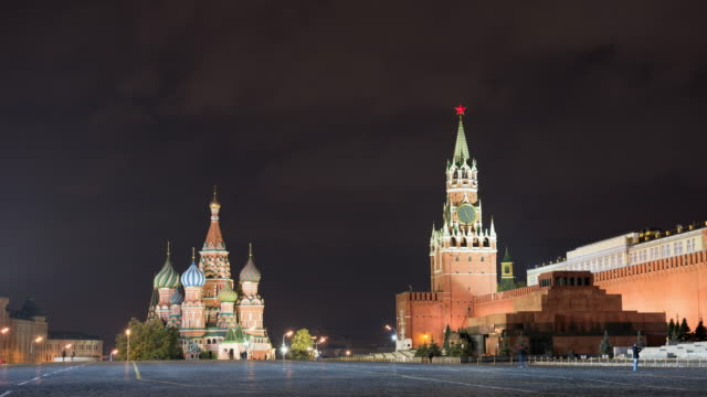 moscow red square with saint basil's cathedral and kremlin timelapse at night - st. basil's cathedral stock videos and b-roll footage