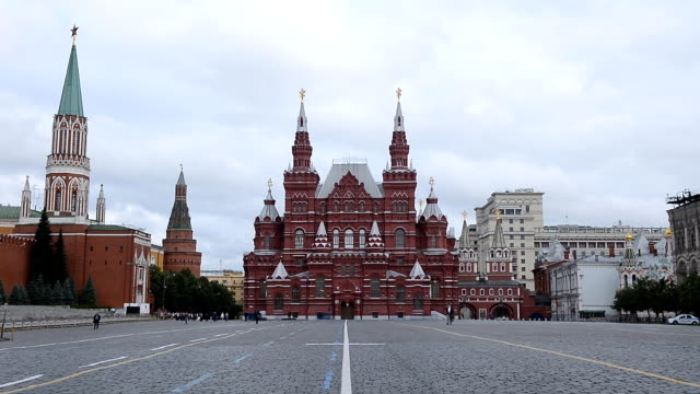 Moscow Red Square with State Historical Museum and Kremlin at morning