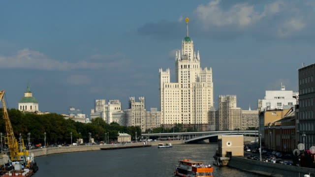 moscow river with tourist boats/ moscow, russia - river moscva stock videos & royalty-free footage