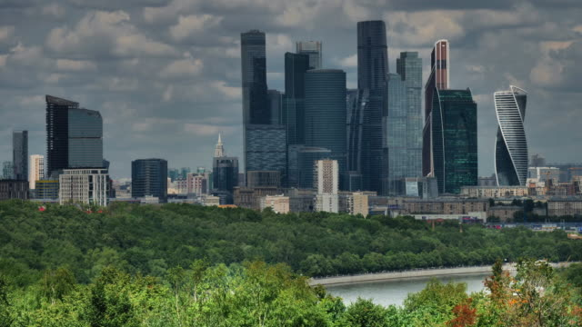 moscow, russia, center of city, view on complex of skyscrapers. - tower stock-videos und b-roll-filmmaterial