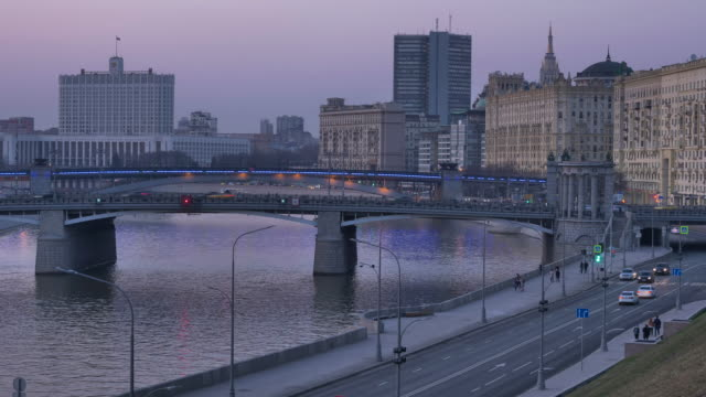 vídeos de stock e filmes b-roll de moscow russia city view in the evening time lapse - moscovo