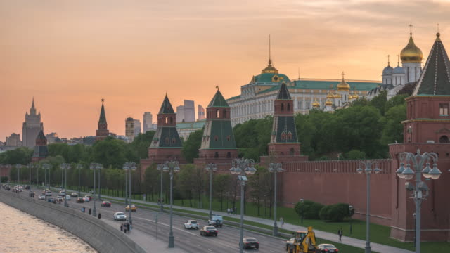 moscow russia time lapse 4k, city skyline sunset timelapse at kremlin palace red square and moscow river - red square stock videos & royalty-free footage
