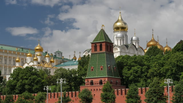 moscow russia view on complex of churches in moscow kremlin. - palace video stock e b–roll