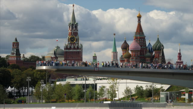 moscow russia view on kremlin towers and st. basil cathedral. - red square stock videos & royalty-free footage