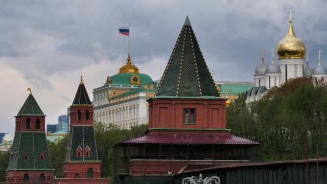 moscow russia view on kremlin towers on against cloudy sky. - moscow russia stock-videos und b-roll-filmmaterial
