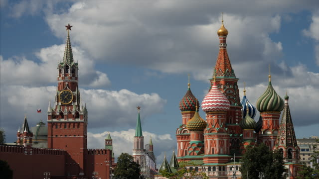 moscow russia, view on moscow kremlin towers. - russia stock videos & royalty-free footage