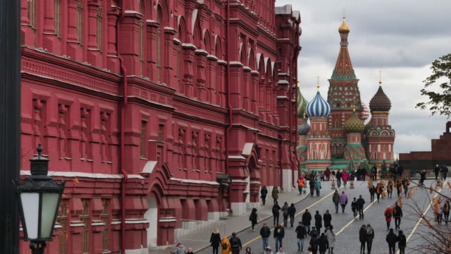 moscow russia view on st. basil cathedral on red square. - moscow russia stock videos & royalty-free footage