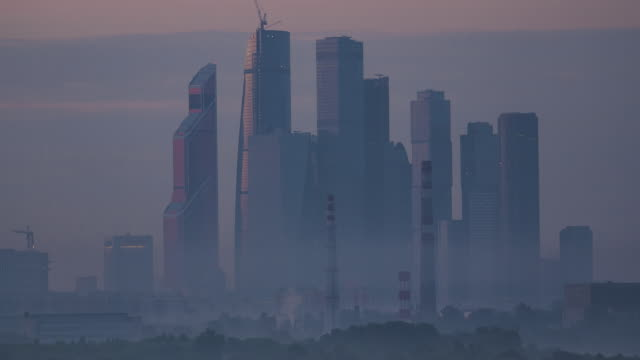 Moscow skyscrapers in the morning