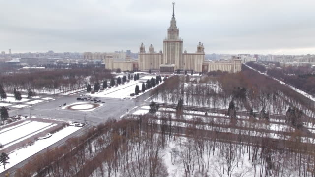 moscow state university, aerial view - moscow russia stock videos & royalty-free footage