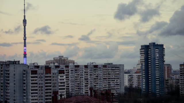 moscow suburb and tv tower in he evening - moscow russia stock videos and b-roll footage