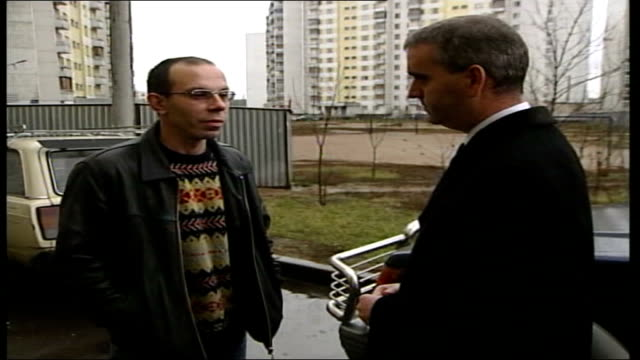conflict/ crime moscow theatre siege aftermath ext 2 shot ivan kosako interview sot voiceover sot what happened to my family is a tragedy but if they... - belagerung stock-videos und b-roll-filmmaterial