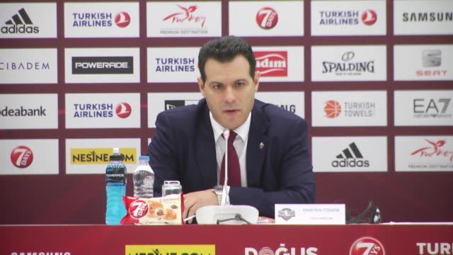 Moscow's head coah Dimitris Itoudis speaks during a press conference following the Turkish Airlines Euroleague Final Four third place game between...