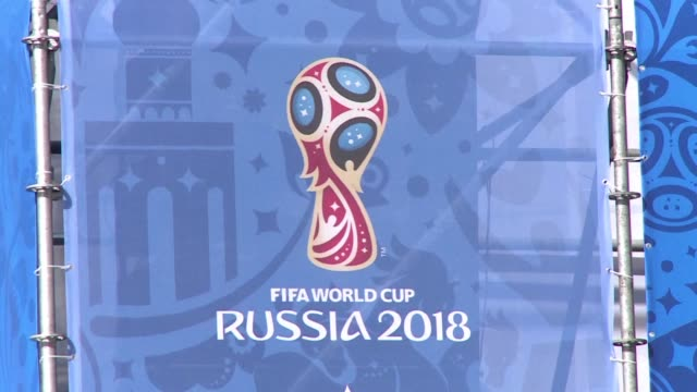 vídeos de stock, filmes e b-roll de moscows red square has been transformed into a football pitch as russia launches its 1000 day countdown to the 2018 fifa world cup it will host in 11... - 2018