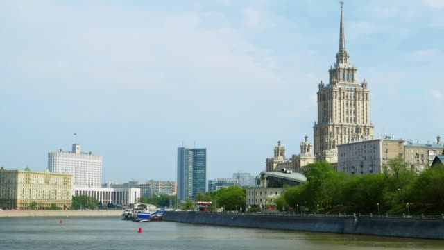 moscva river view in moscow downtown - river moscva stock videos & royalty-free footage