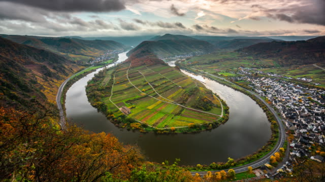 moselle river in germany - time lapse - river bend land feature stock videos & royalty-free footage