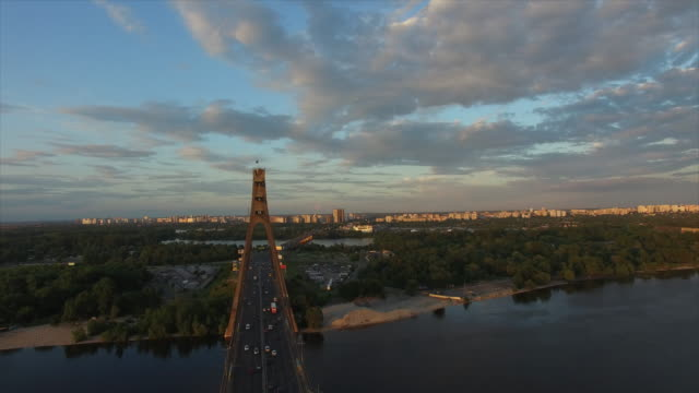 moskow bridge on dnieper river - キエフ市点の映像素材/bロール