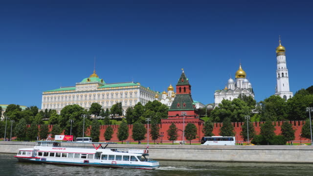 moskva river, kremlin, cathedral of the archangel, ivan the great bell tower, moscow, russia - russian culture stock videos & royalty-free footage