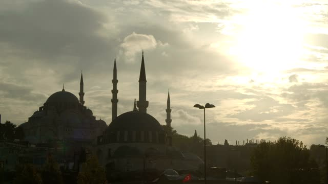 mosque and istanbul (silhouette) - istanbul province stock videos & royalty-free footage