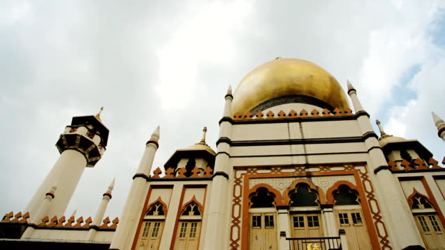 mosque with cloudscape - sultan mosque singapore stock videos and b-roll footage