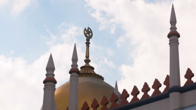 mosque with moving clouds - sultan mosque singapore stock videos and b-roll footage