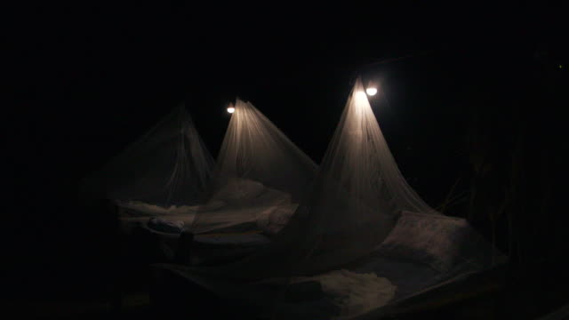 mosquito nets cover outdoor beds at night - netting stock videos & royalty-free footage