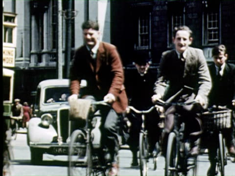 ws most  of people riding  bycyle on city  street, dublin, ireland / audio - 1947 stock videos & royalty-free footage