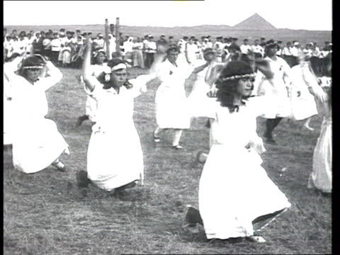 most probably from a document about pit workers and a miners' city in the period of war communism countryside festivities whitedressed girls dancing... - 1921 stock videos & royalty-free footage