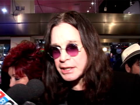 most requested ageing rockers r10110402 london leicester square ozzy osbourne speaking to press at 'bridget jones edge of reason' film premiere - ozzy osbourne stock videos & royalty-free footage