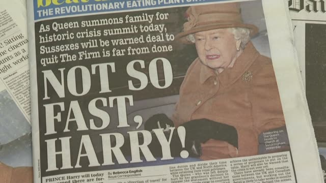 most uk national newspaper front pages focus on the royal family's crisis meeting at sandringham on the future role of prince harry and his wife... - newspaper stock videos & royalty-free footage