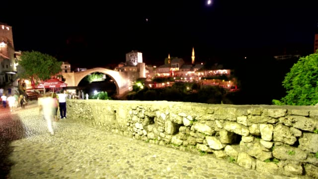 mostar bridge (night-wide shot) - eastern european culture stock videos & royalty-free footage