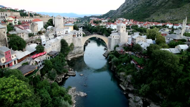 mostar bridge (day-high angle wiew) - eastern european culture stock videos & royalty-free footage