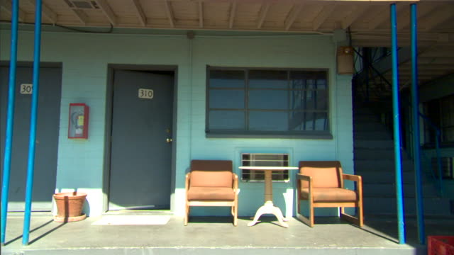 motel room 310, door ajar, two empty chairs & small table in front. vacation, get away, las vegas. - ajar stock videos & royalty-free footage