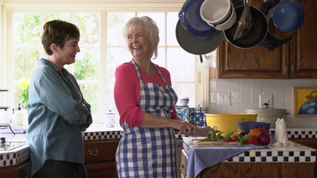ms mother and adult daughter talking in the kitchen - adult offspring stock videos & royalty-free footage