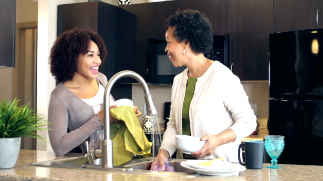 mother and adult daughter washing dishes, talking - adult offspring stock videos & royalty-free footage