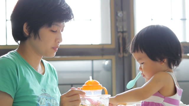 HD : Mother and Baby Eating togetherness