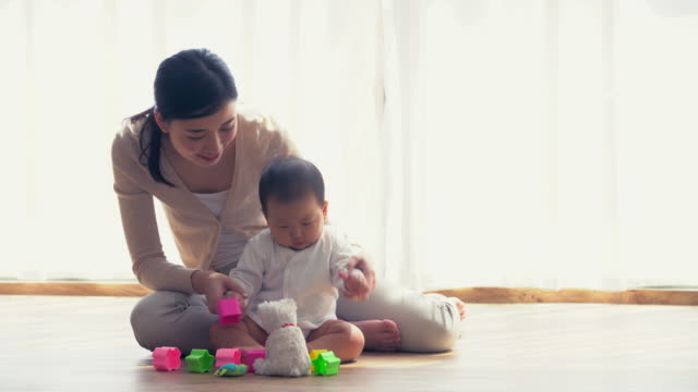MS Mother and baby playing with toys at home