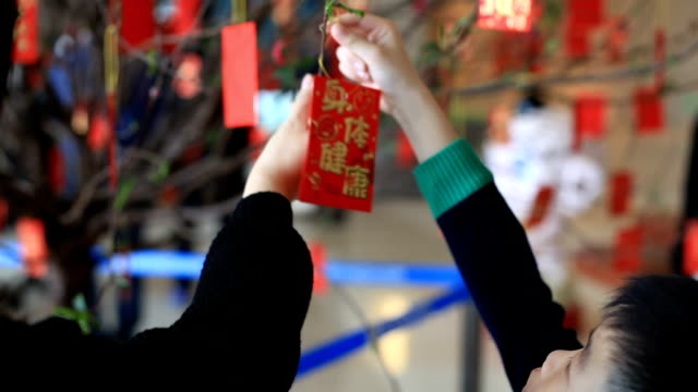 mother and boy hanging red packet on tree - chinese currency stock videos & royalty-free footage