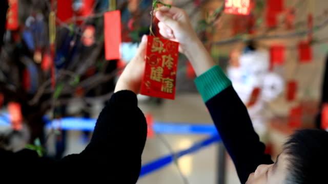 vídeos de stock, filmes e b-roll de mãe e filho pendurado pacote vermelho na árvore - ano novo chinês