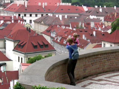 Mother and Child in Europe: Rooftop View