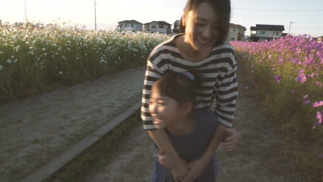 mother and daughter are in the cosmos field - 里山点の映像素材/bロール
