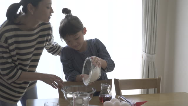 Mother and daughter are making homemade cookies together