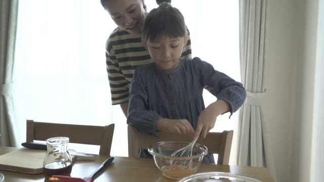 mother and daughter are making homemade cookies together - japanese mom stock videos & royalty-free footage