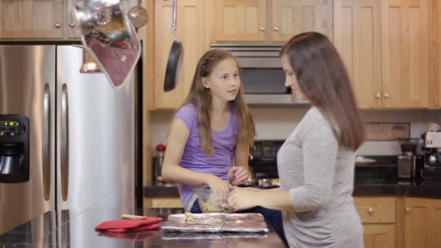 Mother and daughter baking together at home