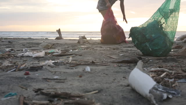 vidéos et rushes de mother and daughter collect garbage on beach, sunrise - nettoyer