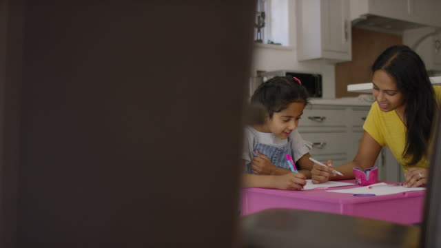 Mother and daughter doing school work together