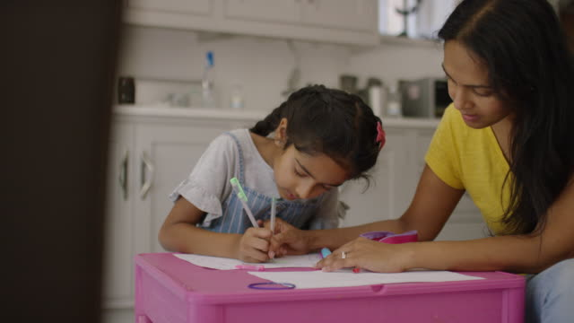 mother and daughter doing school work together - art and craft stock videos & royalty-free footage