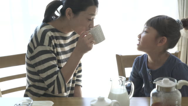 Mother and daughter have a coffee break in the room