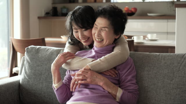 mother and daughter have a happy moment together at home - only japanese stock videos & royalty-free footage