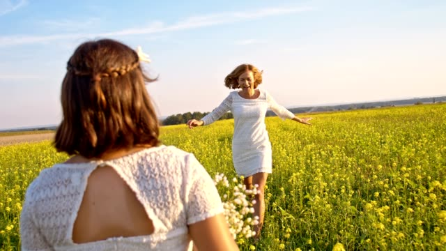slo mo mother and daughter hugging in canola field - family with one child stock videos & royalty-free footage